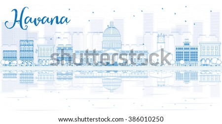 Outline Havana skyline with blue buildings and reflections. Business travel and tourism concept with place for text. Image for presentation, banner, placard and web site. - stock photo