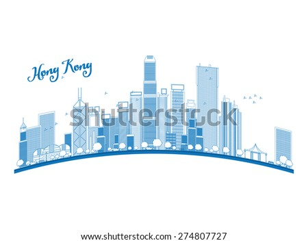 Outline Hong Kong skyline with blue skyscrapers and taxi. Business travel and tourism concept with place for text. Image for presentation, banner, placard and web site.