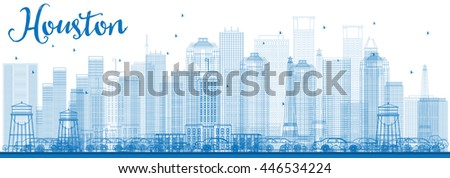 Outline Houston Skyline with Blue Buildings. Business Travel and Tourism Concept with Modern Buildings. Image for Presentation Banner Placard and Web Site. - stock photo