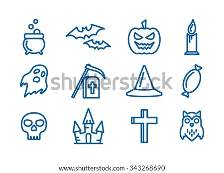 Outline icons set for Halloween party decoration. Cross, skull, bats and grave signs for design. Owl, ghost, pumpkin, castle and cauldron symbols - stock photo