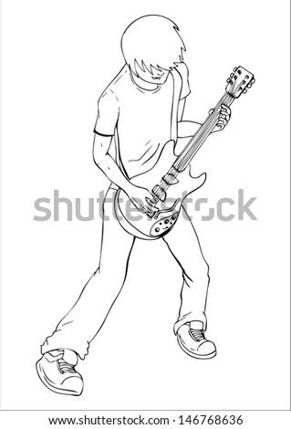 Outline Illustration Of A Man Playing Guitar