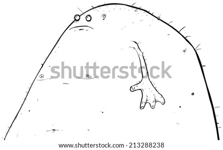 Outline illustration of a slightly older and much fatter lagoon creature. - stock photo