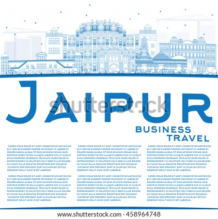 Outline Jaipur Skyline with Blue Landmarks and Copy Space. Business Travel and Tourism Concept with Historic Buildings. Image for Presentation Banner Placard and Web Site.