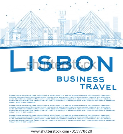 Outline Lisbon city skyline with blue buildings and copy space. Business travel and tourism concept with place for text. Image for presentation, banner, placard and web site. - stock photo