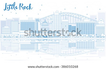 Outline Little Rock skyline with blue buildings and reflections. Business travel and tourism concept with place for text. Image for presentation, banner, placard and web site. - stock photo