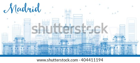 Outline Madrid Skyline with blue buildings. Business travel and tourism concept with historic buildings. Image for presentation, banner, placard and web site