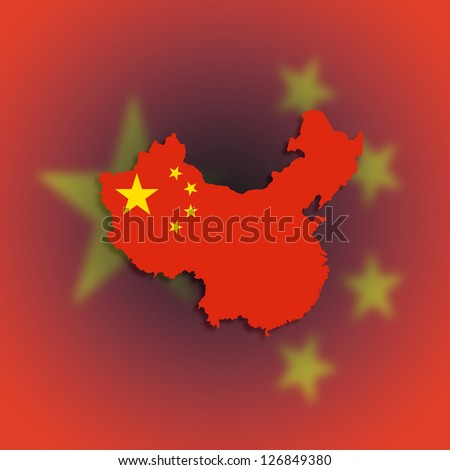 Outline map of China covered in Chinese flag - stock photo