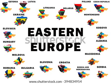 Outline map of Eastern Europe with each country raised and highlighted with the national flag - stock photo