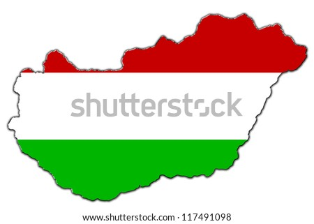Outline map of Hungary covered in Hungarian flag