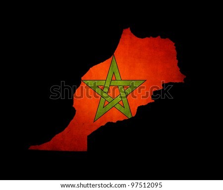 Outline map of Morocco with flag and grunge paper effect