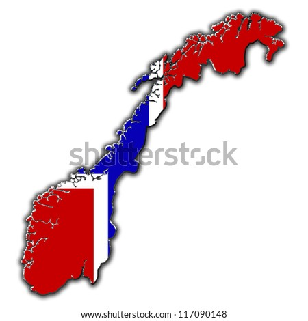 Outline map of Norway covered in Norwegian flag
