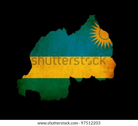 Outline map of Rwanda with flag and grunge paper effect