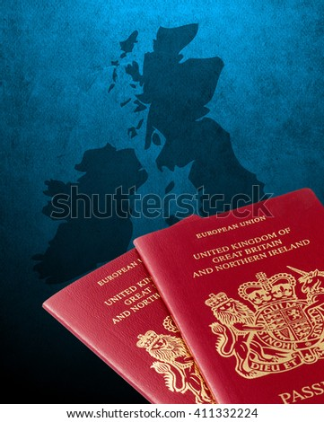 Outline map of UK and Ireland with British passports