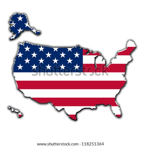 Outline map of United States of America covered in flag of USA