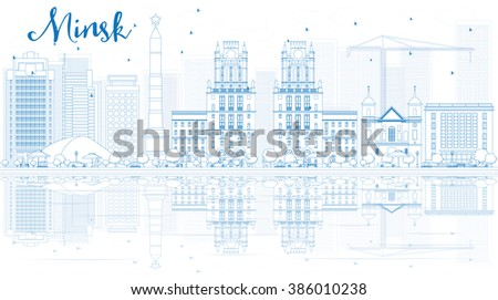 Outline Minsk skyline with blue buildings and reflections. Business travel and tourism concept with place for text. Image for presentation, banner, placard and web site. - stock photo