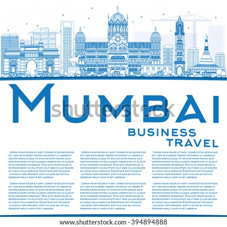 Outline Mumbai Skyline with Blue Landmarks. Business Travel and Tourism Concept with Copy Space. Image for Presentation Banner Placard and Web Site.