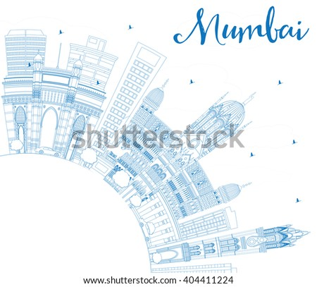 Outline Mumbai Skyline with Blue Landmarks. Business Travel and Tourism Concept with Copy Space. Image for Presentation Banner Placard and Web Site. - stock photo