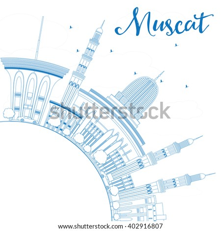 Outline Muscat Skyline with Blue Buildings. Business Travel and Tourism Concept with Copy Space. Image for Presentation Banner Placard and Web Site.