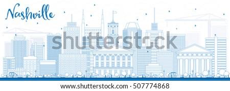 Modern Architecture Nashville nashville city skyline black white silhouette stock vector