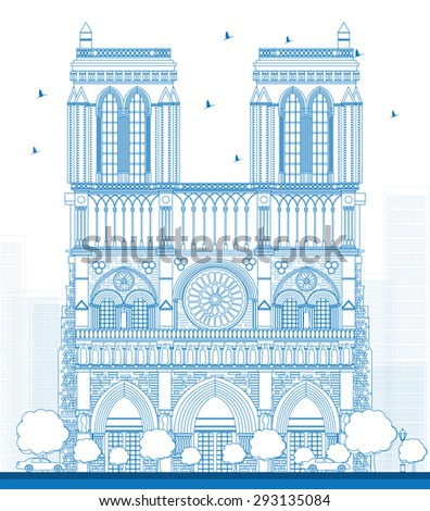 Outline Notre Dame Cathedral - Paris. Business travel and tourism concept with historic building. Image for presentation, banner, placard and web site. - stock photo