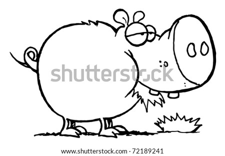 Outline Of A Chubby Pig Eating Grass - stock photo