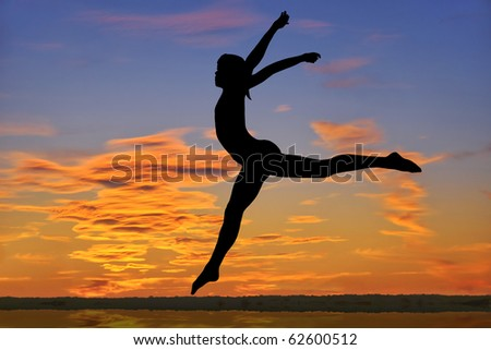 Outline of a gymnast jumping at sunset.