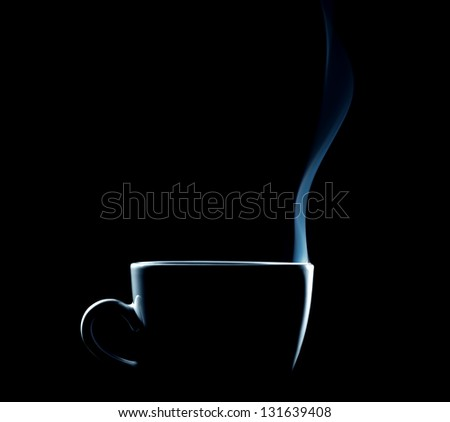 outline of a steaming coffee cup on black background - stock photo