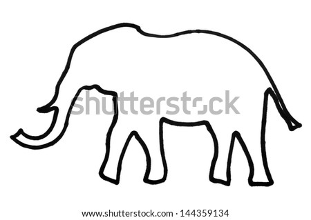 Outline of an elephant - stock photo