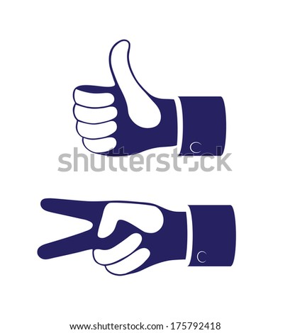 outline of the hand showing thumbs up sign on a white background