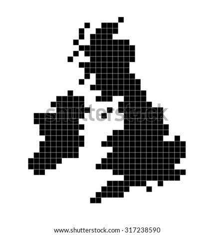 Outline of UK map using black squares - stock photo