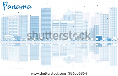 Outline Panama skyline with blue buildings and reflections. Business travel and tourism concept with place for text. Image for presentation, banner, placard and web site. - stock photo
