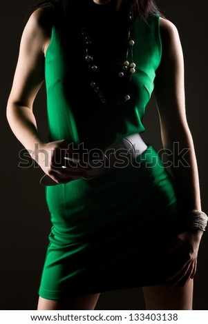 outline portrait of a young woman on a black background - stock photo
