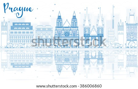 Outline Prague skyline with blue buildings and reflections. Business travel and tourism concept with place for text. Image for presentation, banner, placard and web site. - stock photo