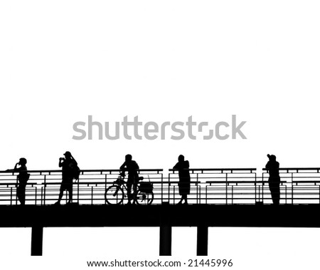 Outline silhouette of pedestrians on a bridge
