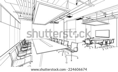 outline sketch of a interior  - stock photo