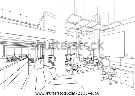 outline sketch of a interior office area  with clipping path