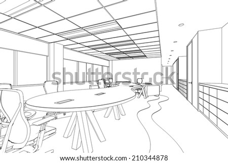 outline sketch of a interior office  area with clipping path - stock photo