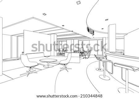 outline sketch of a interior pantry area with clipping path