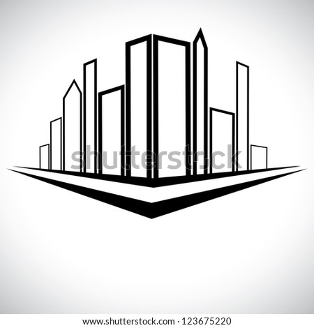 Outline sketch of cityscape urban setting with tall skyscrapers, towers and street - stock photo
