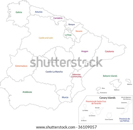 Outline Spain Map Provinces Stock Illustration 36109057 - Shutterstock