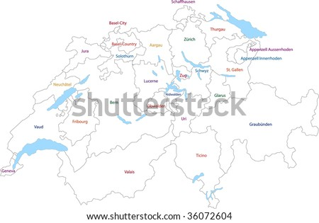 Outline Switzerland map with provinces