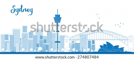 Outline Sydney City skyline with skyscrapers - stock photo
