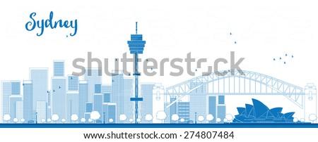 Outline Sydney City skyline with skyscrapers - stock photo