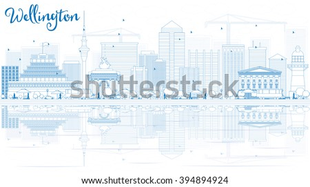 Outline Wellington skyline with blue buildings and reflections. Business travel and tourism concept with place for text. Image for presentation, banner, placard and web site. - stock photo