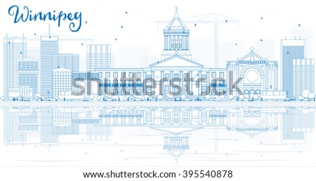 Outline Winnipeg Skyline with Blue Buildings and Reflections. Business Travel and Tourism Concept with Modern Buildings. Image for Presentation Banner Placard and Web Site. - stock photo