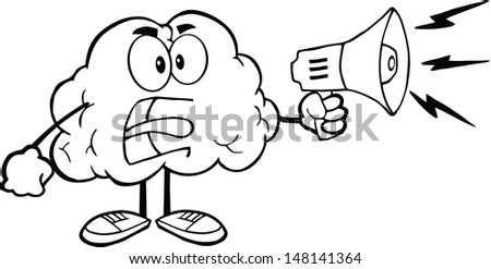 Outlined Angry Brain Cartoon Character Screaming Into Megaphone. Vector version also available in gallery - stock photo