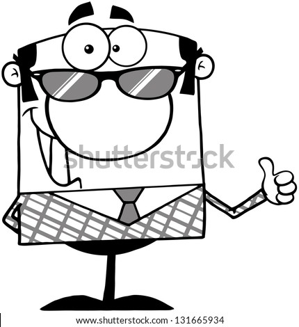 Outlined Business Manager With Sunglasses Showing Thumbs Up. Raster Illustration.Vector Version Also Available In Portfolio. - stock photo