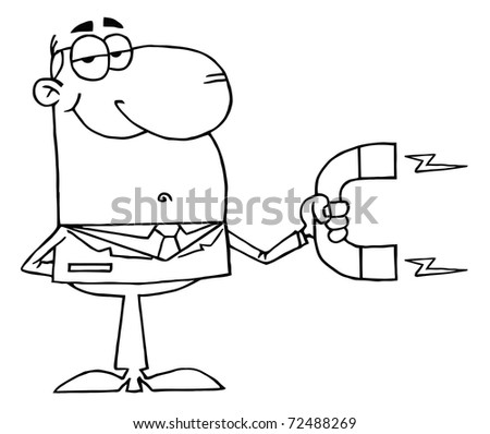 Outlined Businessman Using A Magnet - stock photo