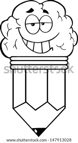 Outlined Clever Pencil Cartoon Character. Vector version also available in gallery - stock photo