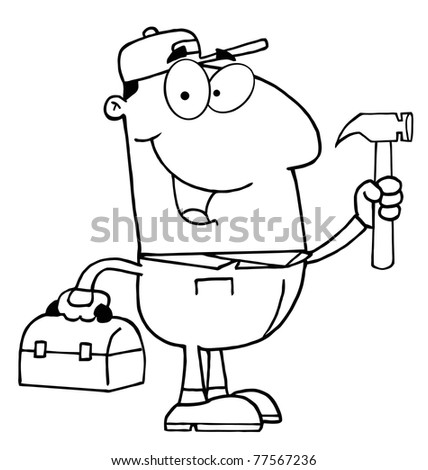 Outlined Construction Worker With Hammer - stock photo
